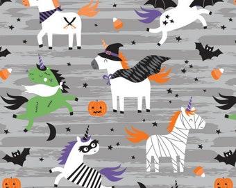 Halloween Unicorn - It's Always Unicorn Season by Puck Selders for Camelot Fabrics 89191101-1 Gray - Priced by the half yard
