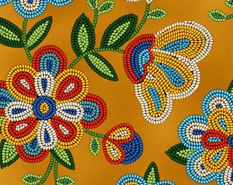 Beaded Floral Fabric - Tucson collection - Elizabeth Studio Fabric - 449 Moosehide  - Priced by the half yard