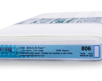 Pellon 806 Stitch-N-Tear Interfacing, Tear Away Stabilizer - White - One Yard, 20-Inch Wide