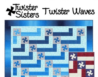 Twister Waves Quilt Pattern, Pinwheel Quilt - Marilyn Foreman - Pattern Only DIY Project - Ruler Required
