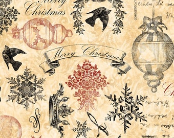 Christmas Fabric - Christmas in Bloom Ephemera & Words by Nancy Mink for Wilmington Prints 33798 193 Cream - Priced by the Half Yard