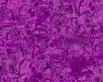 3 Wishes Fabric - In the Meadow Tonal Floral by Connie Haley - Fabric Edition-  14494 Purple - Priced by the half yard