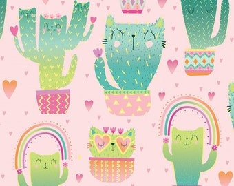 Timeless Treasures - Kitty Cactus - Quirky Cat - C8237 PINK - Priced by the half yard