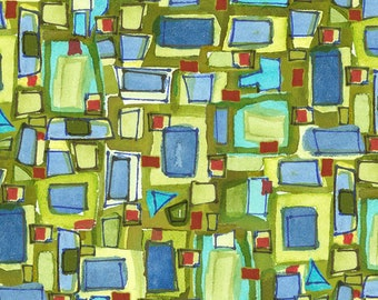 Quilters Road Trip - Abstract Squares - Camp site -  Kathy Deggendorfer for Maywood Studio - MAS 9194 Green blue - Priced by the half yard