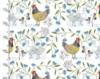 Country Chicken Fabric From 3 Wishes Fabric Farm Fresh by Flora Waycott Collection 13802 - Priced by the 1/2 yard
