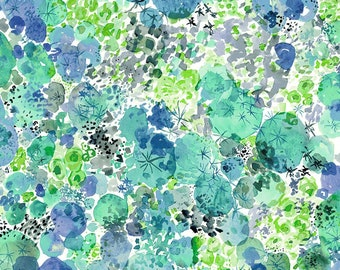 Curio Fabric - Moss -  Betsy Olmsted for Windham  50866 2 Capri Blue - Priced by the Half Yard