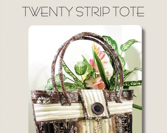 Twenty Strip Tote Bag  by Aunties Two -  AT608  - DIY Pattern - Uses Bosal Duet Batting Roll
