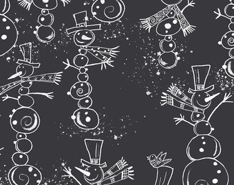 Snow Friends Snowmen - Maret for Fabric Edition 3 Wishes - 16622 Black - Priced by the 1/2 yard