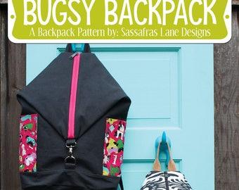 Back Pack Pattern, Backpack Hardware, Bag Pattern, Sling Bag - Cork Accent - Bugsy Backpack, Sassafras Lane - DIY - Pattern and hardware kit