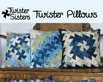 """Twister Pillows - Twister Sisters TWS 102 - Pattern Only - DIY Project - 18"""" or 20"""" Pillow Size (Pillow not included)"""