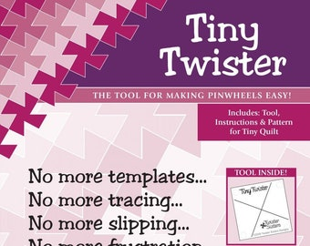 TIny Twister Template by Twisted Sister Designs - Pinwheel template for 3.5 inch squares - Acrylic Ruler