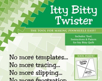Itty Bitty Twister Template (Replaces Primitive Gathering) - Pinwheel Acrylic template 2-1/2 inch squares - instruction & sample project