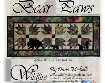 """Bear Paw Pattern Table Runner - Wildfire Designs Alaska - Pattern & Bear Patches - DIY Project - Finishes 16""""x36"""""""
