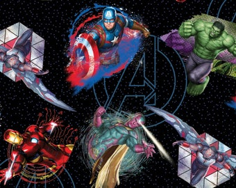 Marvel Avengers Fabric , Iron Man, Hulk, Capt Avenger - Springs Creative SPR62839 A620715  - Priced by the 1/2 yard