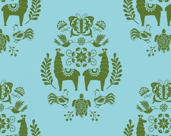 Llama Fabric, Medallion Fabric, Juxta Posey by Betz White Collection,  Riley Blake Designs - C 5922 Blue - Priced by the Half Yard