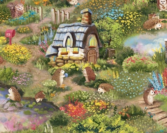 Hedgehog Village by Judy Hansen Collection -  Paintbrush Studio Fabric -120-13721 - Priced by the half yard