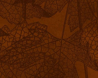 Autumn Leaf, Leaf Fabric - Autumn Reverie by Clothworks - Y 2179 15 Brown Burnt Sienna  - Priced by the 1/2 Yard