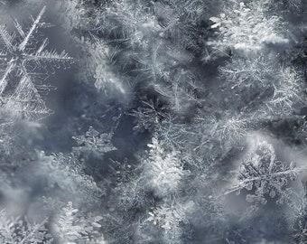 Paynes Gray Snowflake - Call of the Wild - Hoffman Fabrics - Q4458H 313 - Digital Print Fabric  - Priced by the half yard