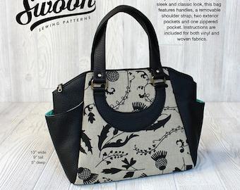 Swoon Annette Satchel Handbag # SWN021 by Alecia Miller - DIY Bag Pattern - Works with Woven, Vinyl, Cork
