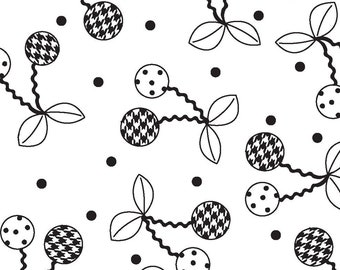 Kimberbell Basics Cheerful Cherries - Maywood Studio 8245 J White & Black -  Priced by the half yard