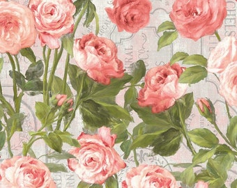 Flower Market Fabric - Climbing Roses -  Danhui Nai for Wilmington Fabrics - 89210 337 Pink - Priced by the half yard
