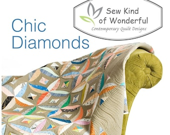 Chic Diamonds using the Quick Curve Ruler by Sew Kind of Wonderful.  By Jenny Pedigo # SKW415