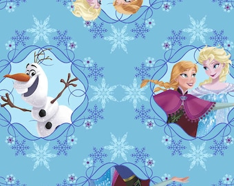 Frozen - Anna, Elsa, Olaf Fabric - Ice Skating Framed - Springs Creative Fabric - CP 533219 - Blue - Priced by the 1/2 yard