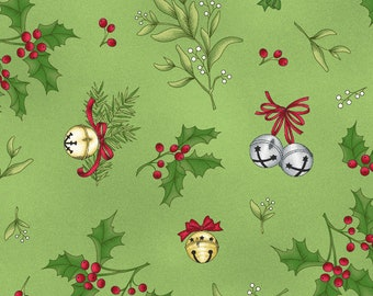 Christmas Fabric - Holly Mistletoe & Christmas Bells - Christmas Joys by Kim Lammers - Flannel MAS F 9006-G Green - Priced by the half yard