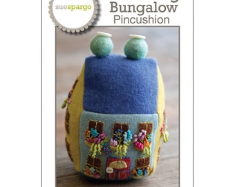 Blooming Bungalow by Sue Spargo - Wool Pattern - Pincushion pattern - DIY Project - Pattern - Optional Stitch Book