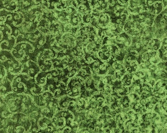 Scrollscape Fabric - Blender Fabric Oasis Dan Morris for Quilting Treasures - 24362 G Moss Green - Medium  - Priced by the Half Yard