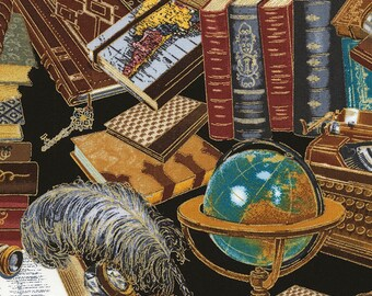 Classic Book Fabric -Assorted Books - Library Study by Timeless Treasures CM 6891- Metallic Gold Multi - Priced by the Half yard