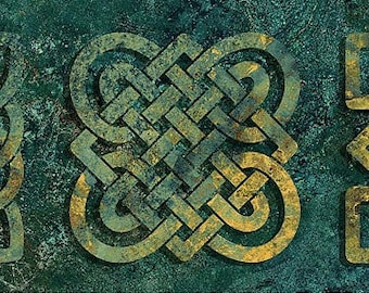 Solstice Fabric - Stonehenge 10th Anniversary - Celtic Knot - Northcott  39428-69 Green - Priced by the 1/2 yard