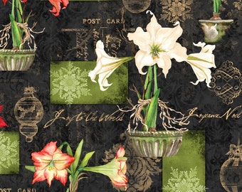 Christmas Fabric -  Christmas in Bloom Allover Print by Nancy Mink for Wilmington Prints 33796 973 Black - Priced by the Half Yard