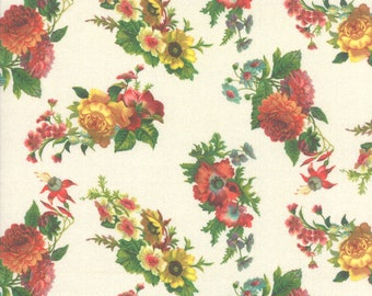 Flea Market Mix - Floral Spray -  Cathe Holden for Moda 7354 11D  Parchment Cream - Priced by the 1/2 yard