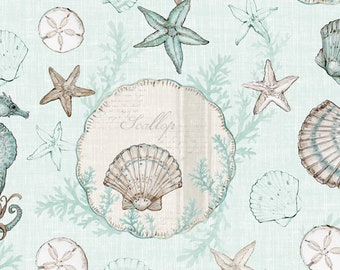Coastal Wishes - Sand Dollar Seashell  Nautical - By Susan Winget for Wilmington Prints - 39620 224 Blue - Priced by the half yard
