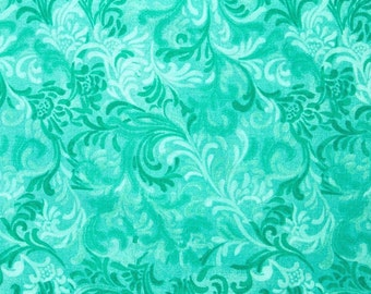 Wide Back Quilt Back 108 Inch - Flourish - Wilmington Prints 1056-6608-470 Aqua - Priced by the Yard