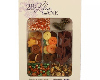 Embellishment Kit, Buttons Galore, Ribbon & Buttons - Autumn Afternoon 28 Lilac Lane by May Flaum LL109