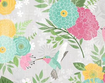 Keep Shining Bright - Allover Flower Hummingbird - By Anne Rowan for Wilmington Prints - 3007 68509 953 Lt Gray - Priced by the Half Yard
