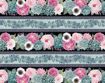 Botanical Oasis -Border Stripe - Floral Succulents - By Anne Rowan for Wilmington Prints - 3007 68516 973 - Priced by the Half Yard