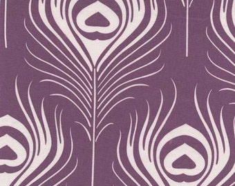 Peacock Fabric - Plume From Seedling by Thomas Paul for Michael Miller  Fabrics DC 6841 Plum - Priced by the Half Yard