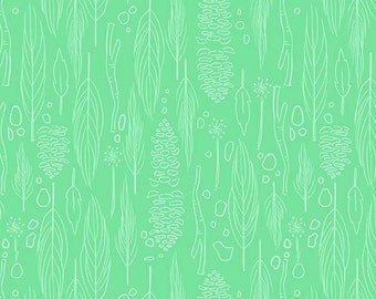 Leaf Fabric - Nature Walk from Wee Wander by Sarah Jane for Michael Miller DC 6229 GRAS D - 1/2 yard
