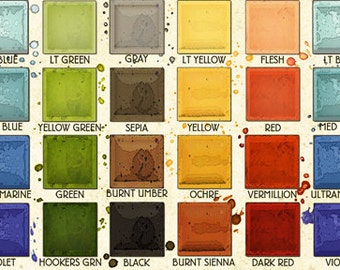 Paint Palette Fabric - Painter's Palette by Janet Wecker Frisch - Riley Blake C8946 -  Priced by the 1/2 yard