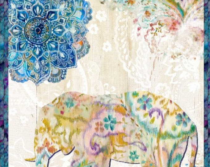 Featured listing image: Bohemian Dreams Fabric - Paisley Elephant - Danhui Nai for Wilmington Prints - 89191 145 Cream - priced by the 24-Inch panel
