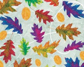 Fall Leaf Fabric, Colorful leaves, Rainbow Leaf - Autumn Hue by Alexa Kate Design - Studio E - 4206 11 Blue - Priced by the half yard