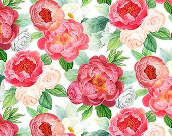 Blossoming Beauties - Peony Floral Fabric - Teri Farrell-Gittins for Northcott  DP 22320-10 White - Priced by the 1/2 yard