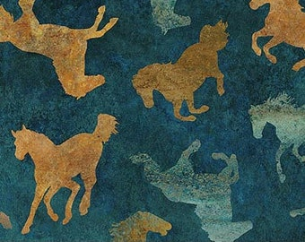 Wild Horses Fabric - Tossed Horses - Linda Ludovico - Northcott DP 23034-48 Blue Tan - Priced by the 1/2 yard