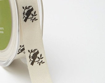 "Bird Print Ribbon - Ivory Canvas / Black 3/4"" Ribbon  413-34-10 -   Price per Yard"