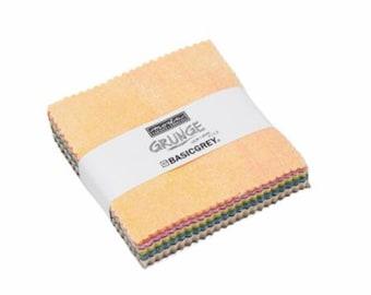 Grunge Mini Charm Moda Fabrics 30150 MC - 2-1/2 Inch Squares (42) per pack - 2018 colors
