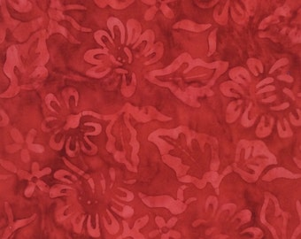 Daisy Red Floral Batik Fabric - Artisan Indonesian from Majestic Batiks - SP D325 - Red, Priced by the half yard