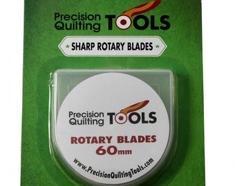 Rotary Cutter Blade, Large Blade 60mm - Precision Quilting Rotary Cutter Replacement Blade 60mm  - 5 pack with storage case